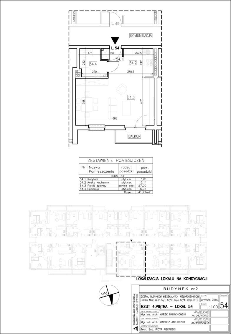 Lokal nr 54 Powierzchnia: 41,77 m2