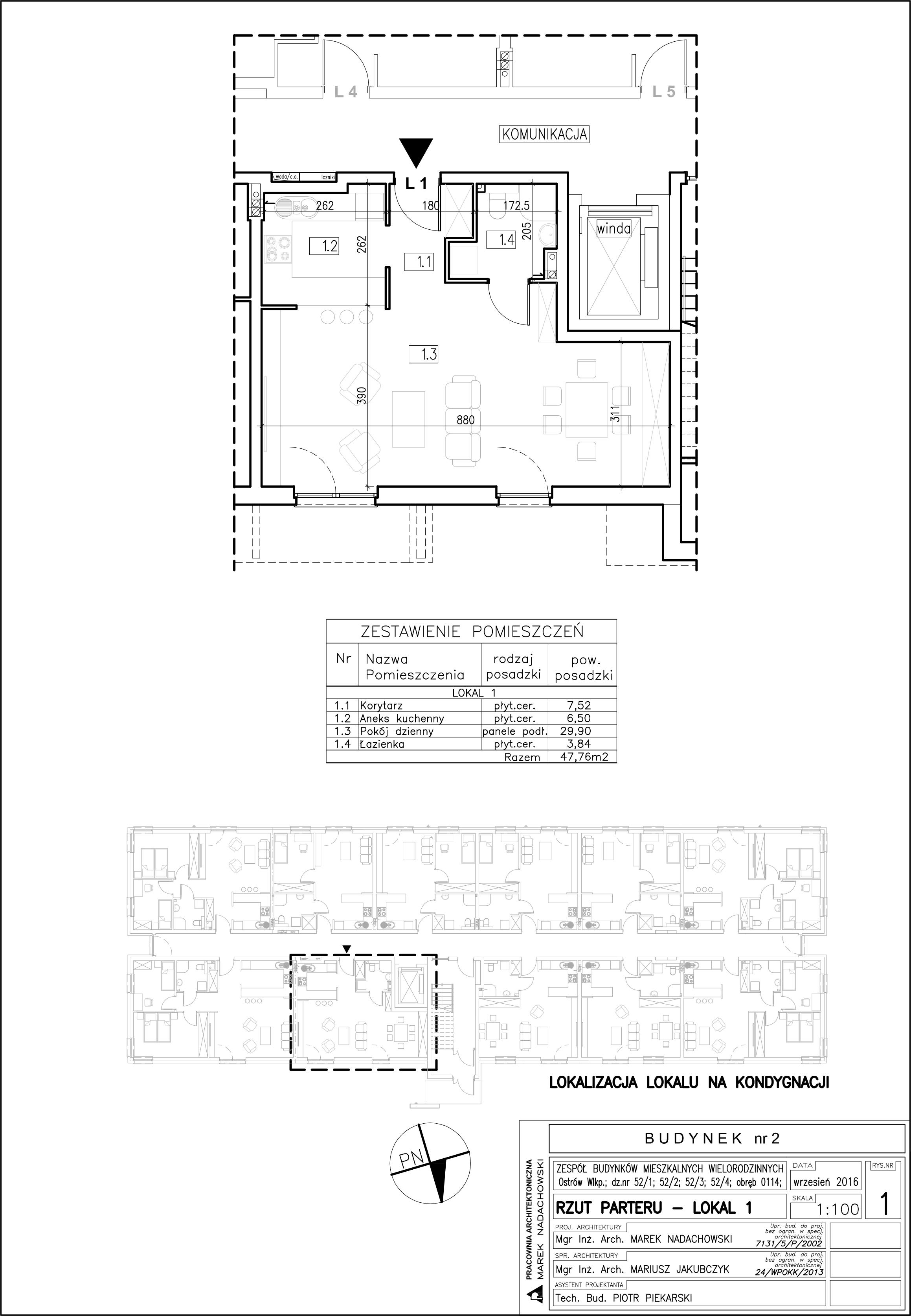Lokal nr 1 Powierzchnia: 47,76 m2