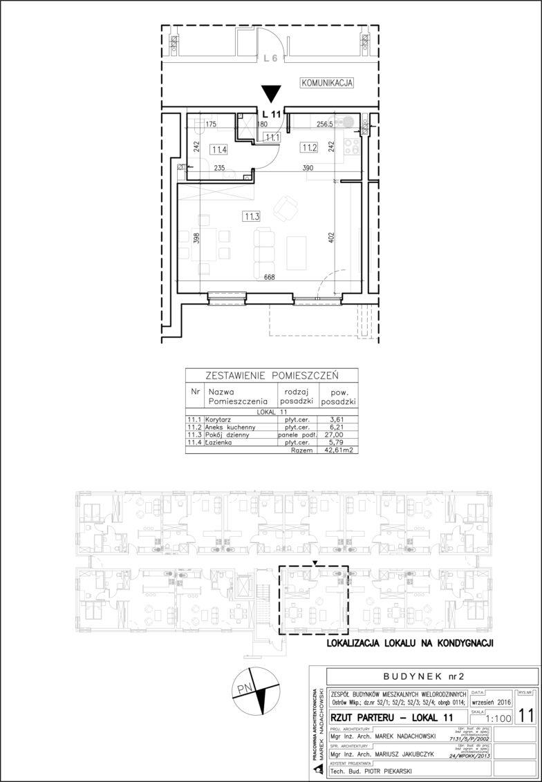 Lokal nr 11 Powierzchnia: 42,61 m2