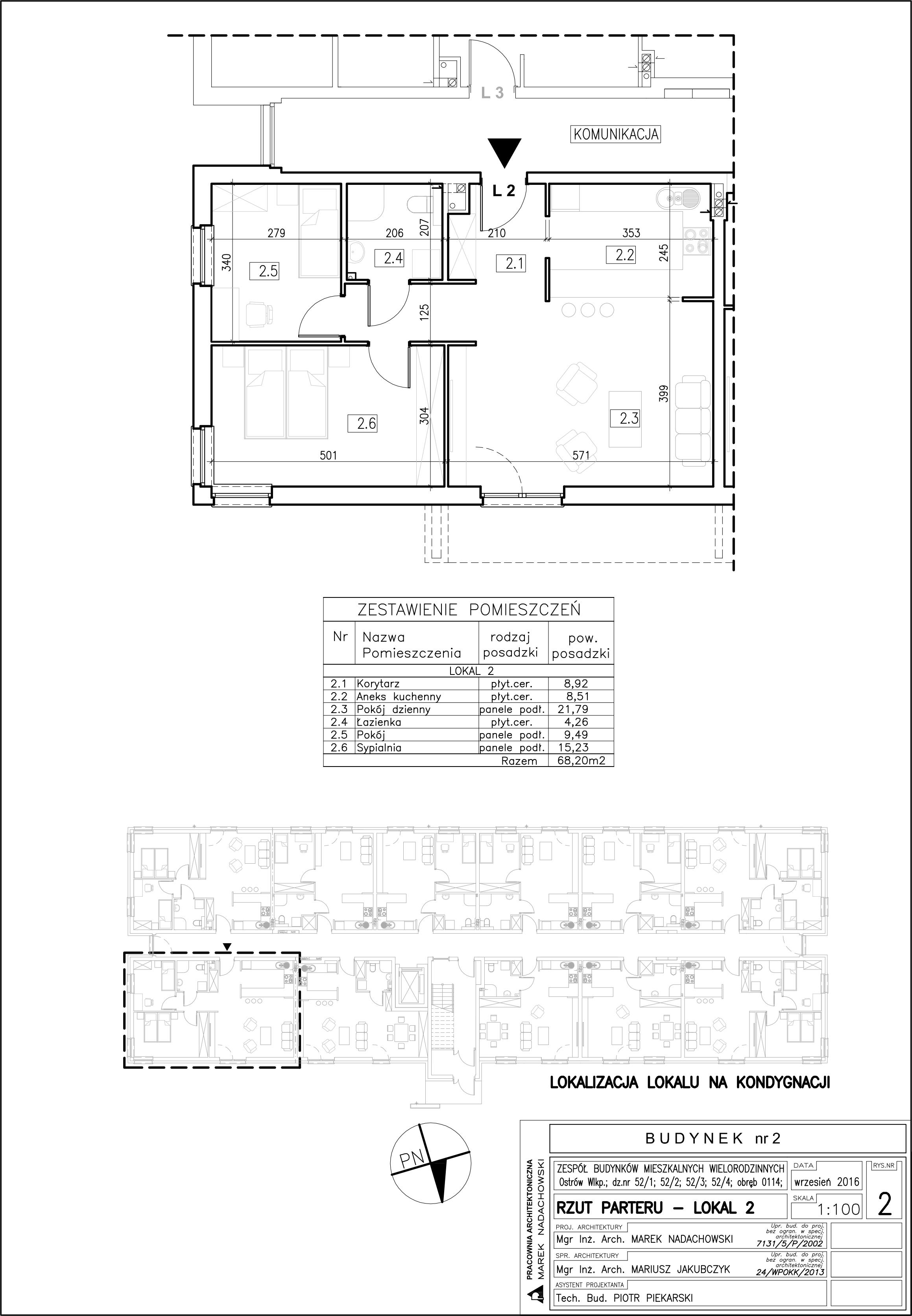Lokal nr 2 Powierzchnia: 68,20 m2