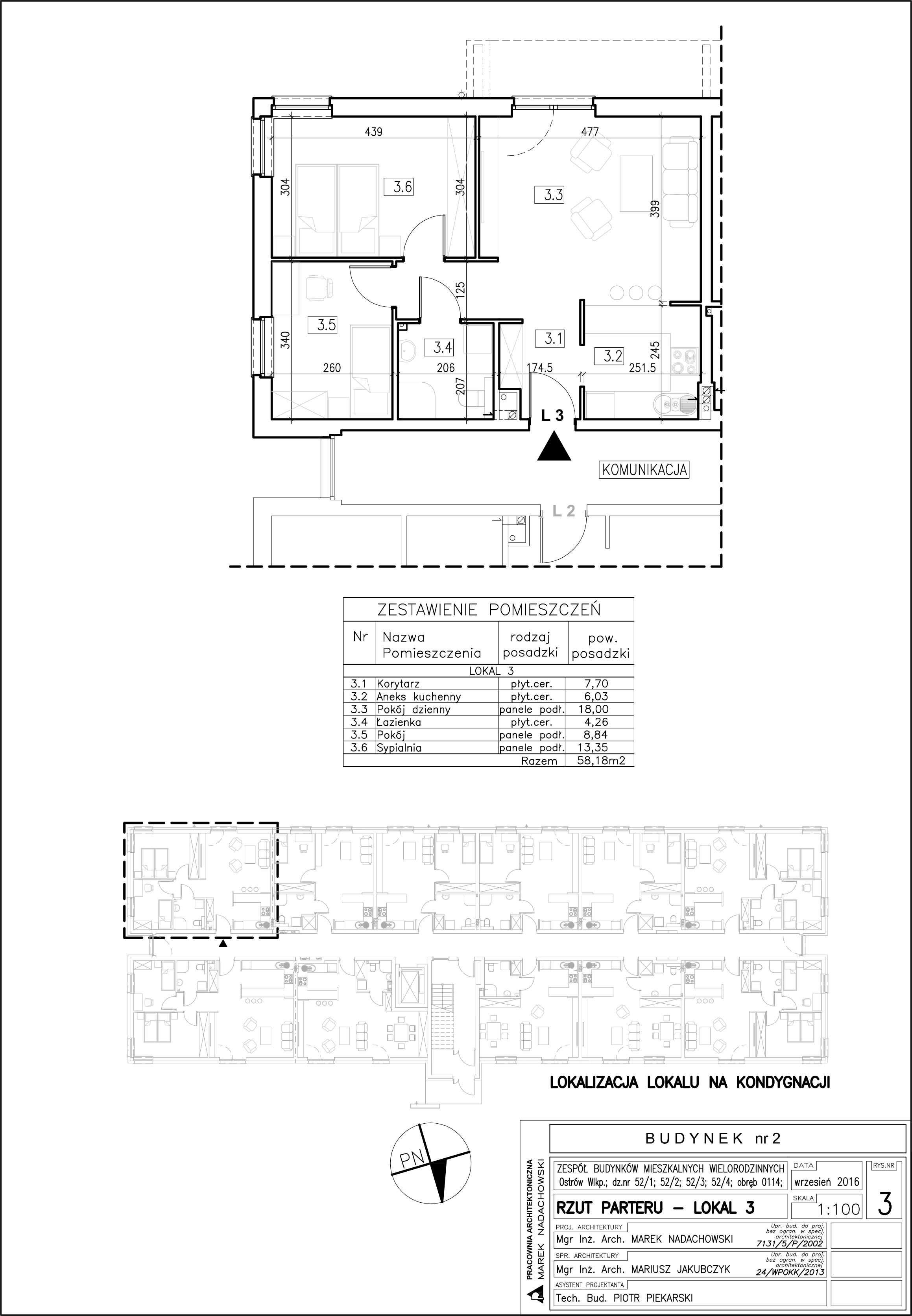 Lokal nr 3 Powierzchnia: 58,18 m2