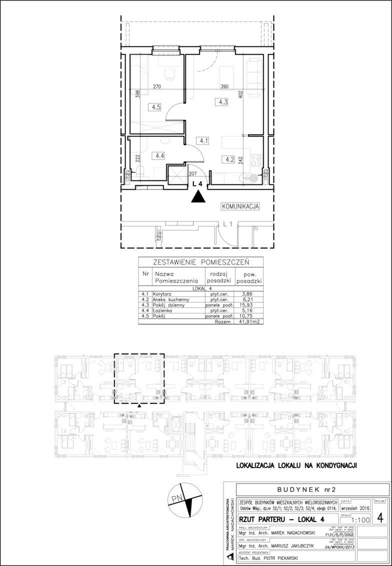 Lokal nr 4 Powierzchnia: 41,91 m2