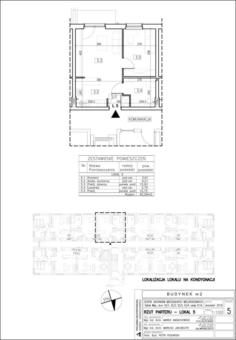 Lokal nr 5 Powierzchnia: 42,29 m2