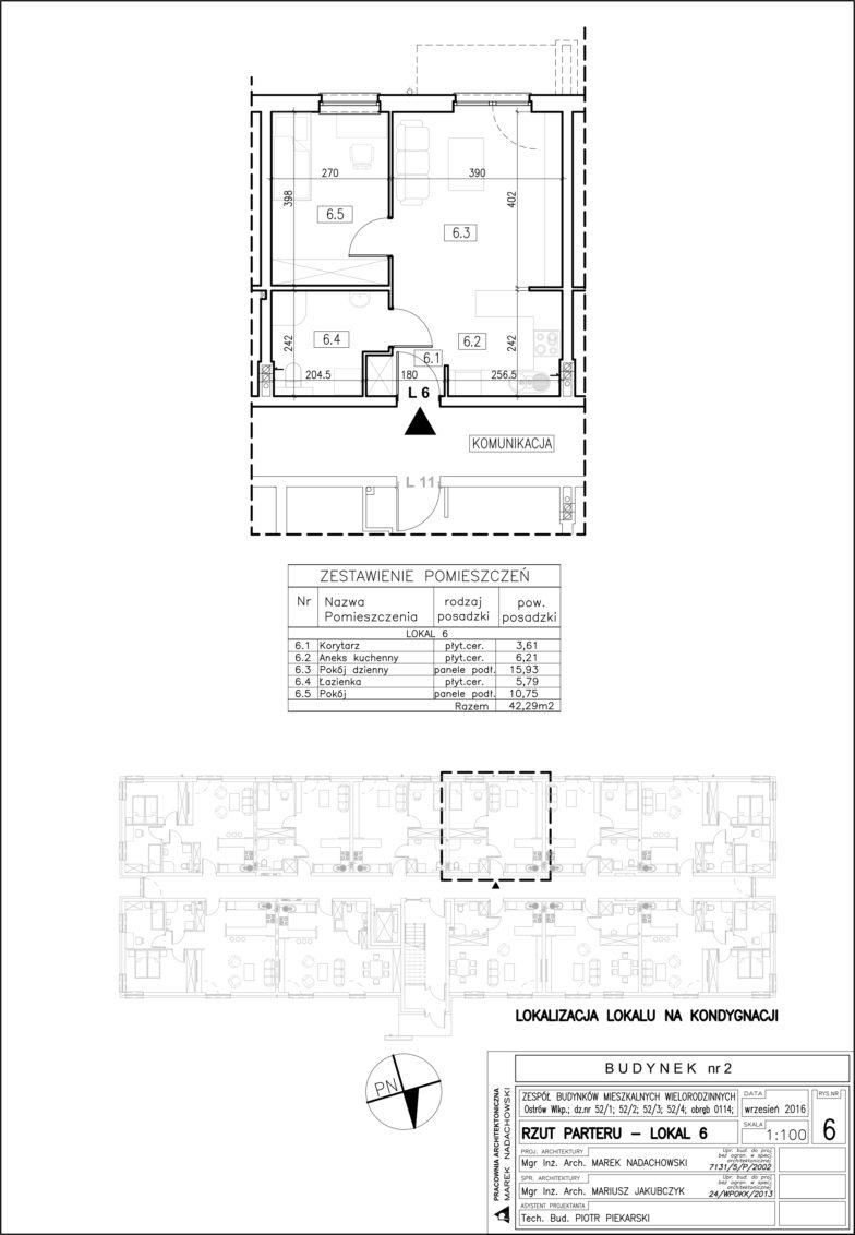 Lokal nr 6 Powierzchnia: 42,29 m2