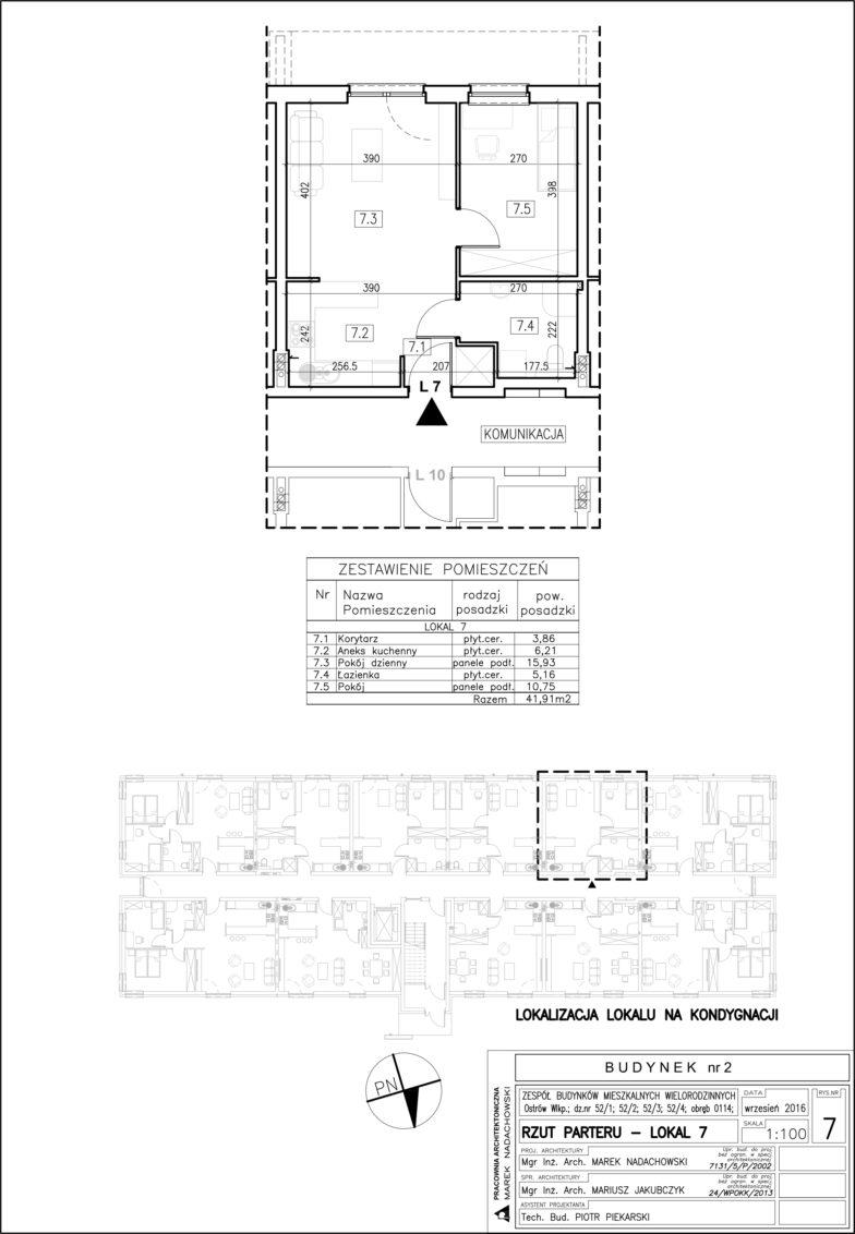 Lokal nr 7 Powierzchnia: 41,91 m2