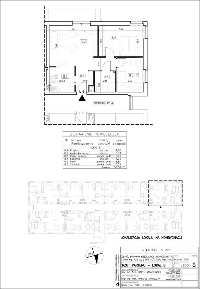Lokal nr 8 Powierzchnia: 58,18 m2