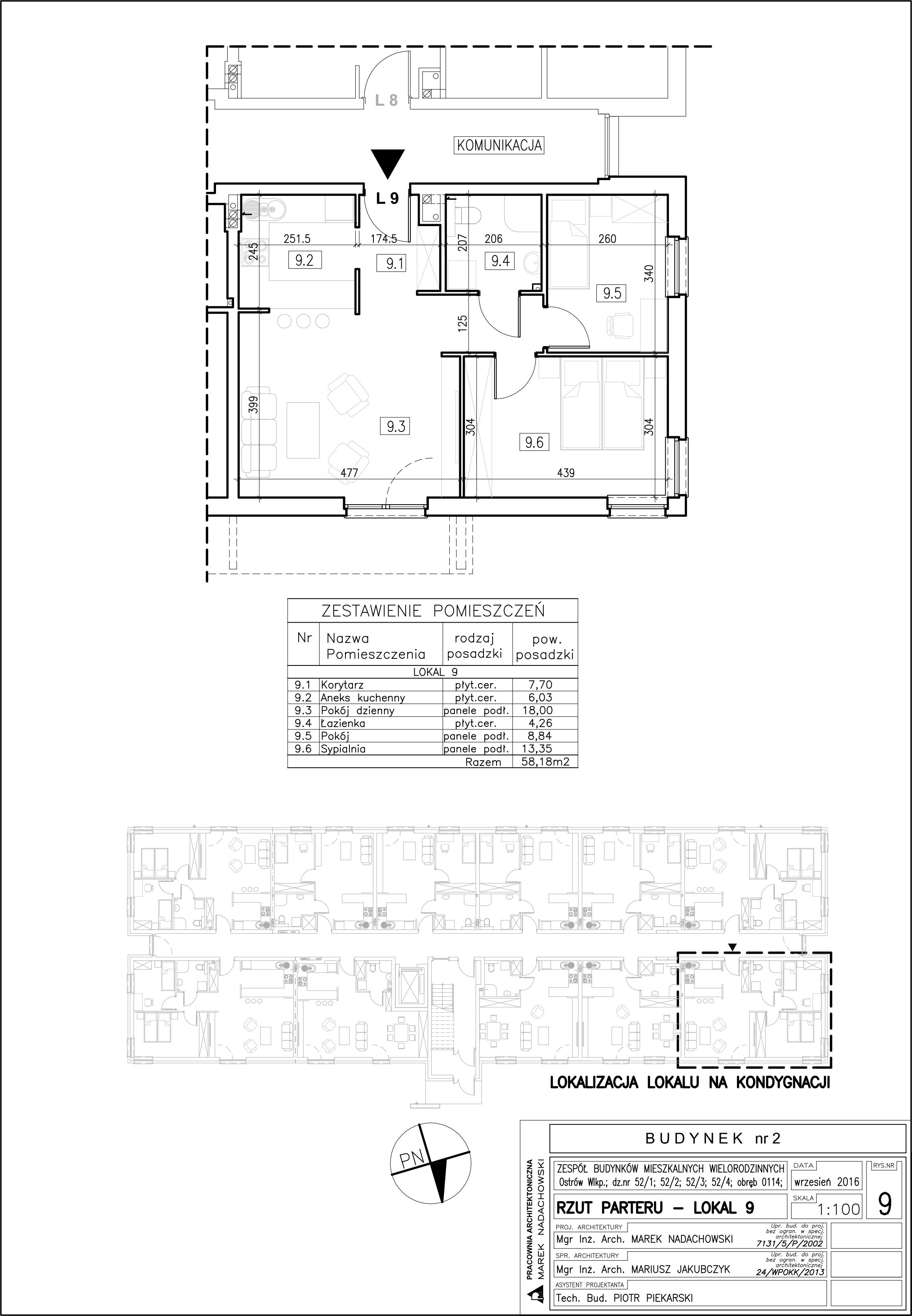 Lokal nr 9 Powierzchnia: 58,18 m2