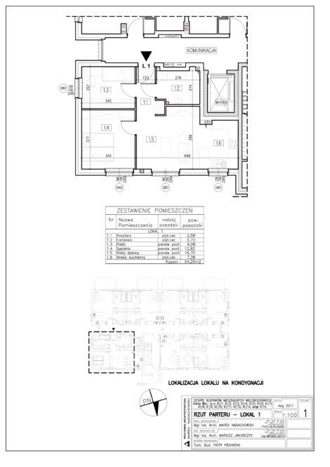 Lokal nr 1 Powierzchnia: 54,26 m2