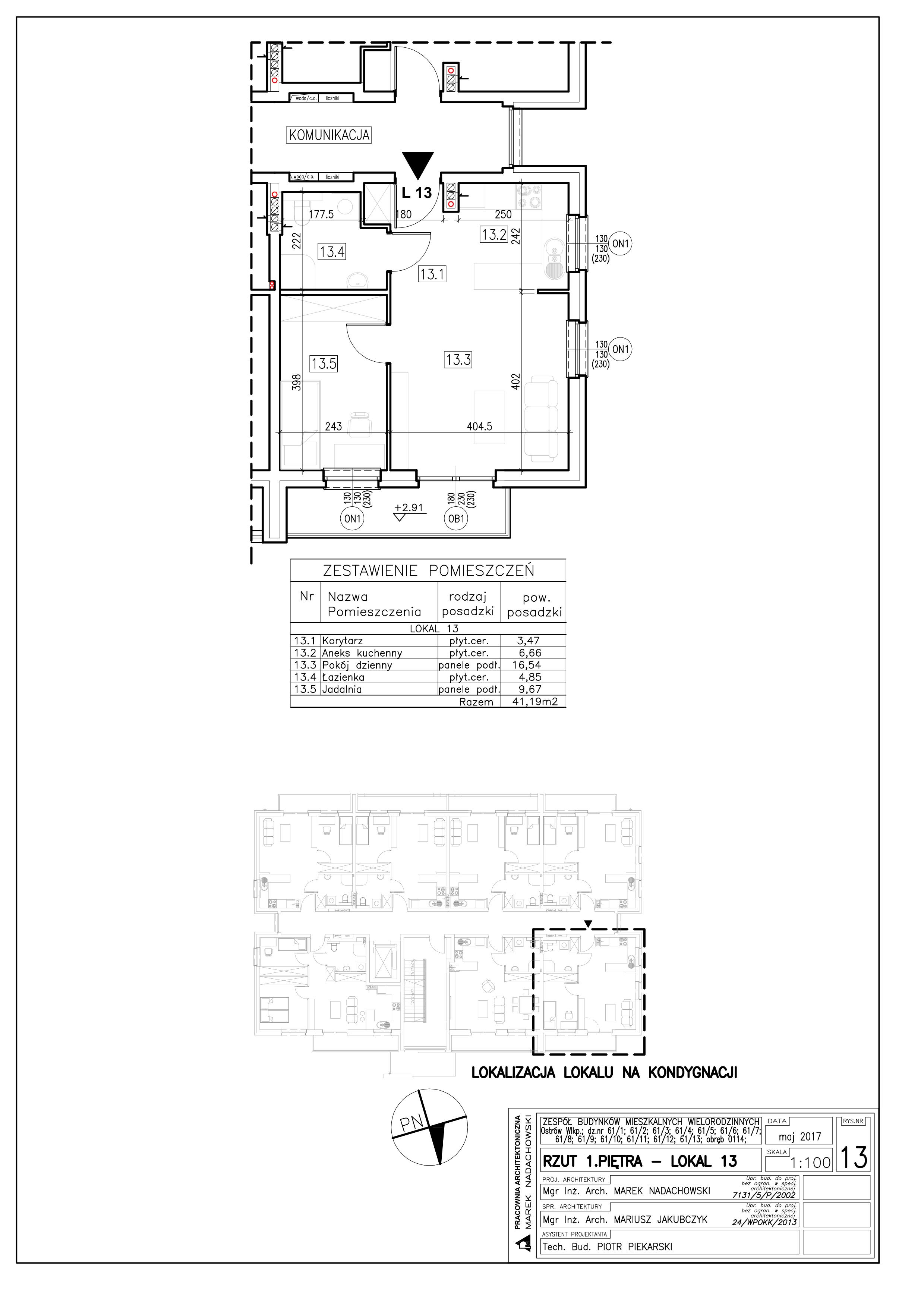 Lokal nr 13 Powierzchnia: 41,19 m2