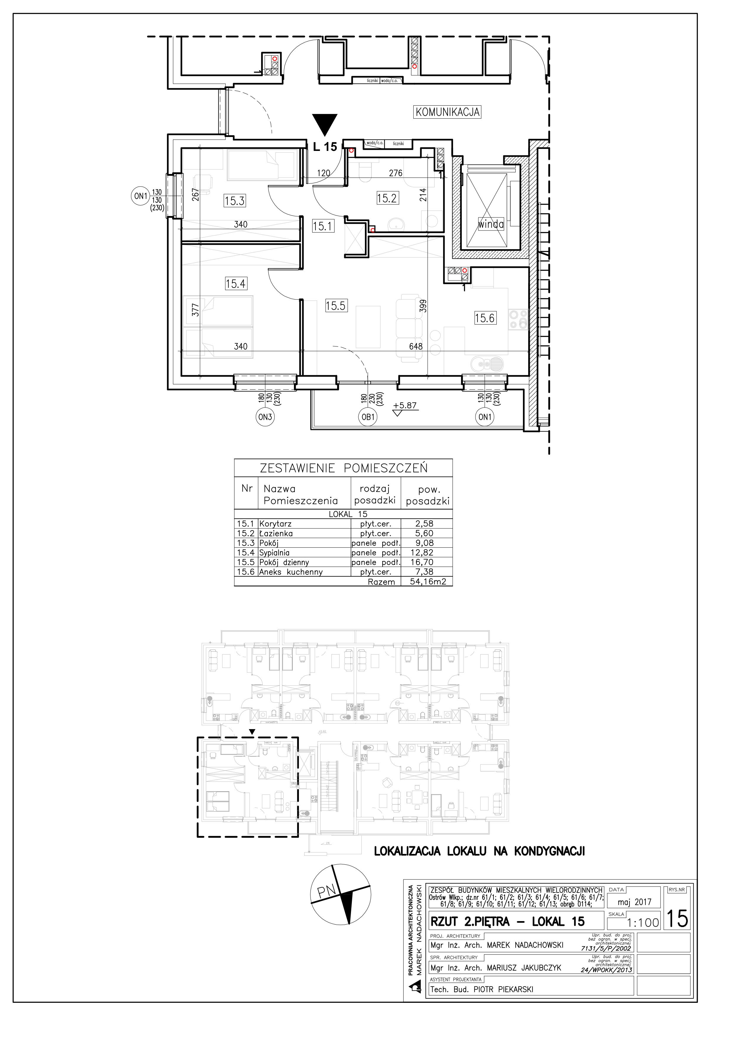 Lokal nr 15 Powierzchnia: 54,16 m2