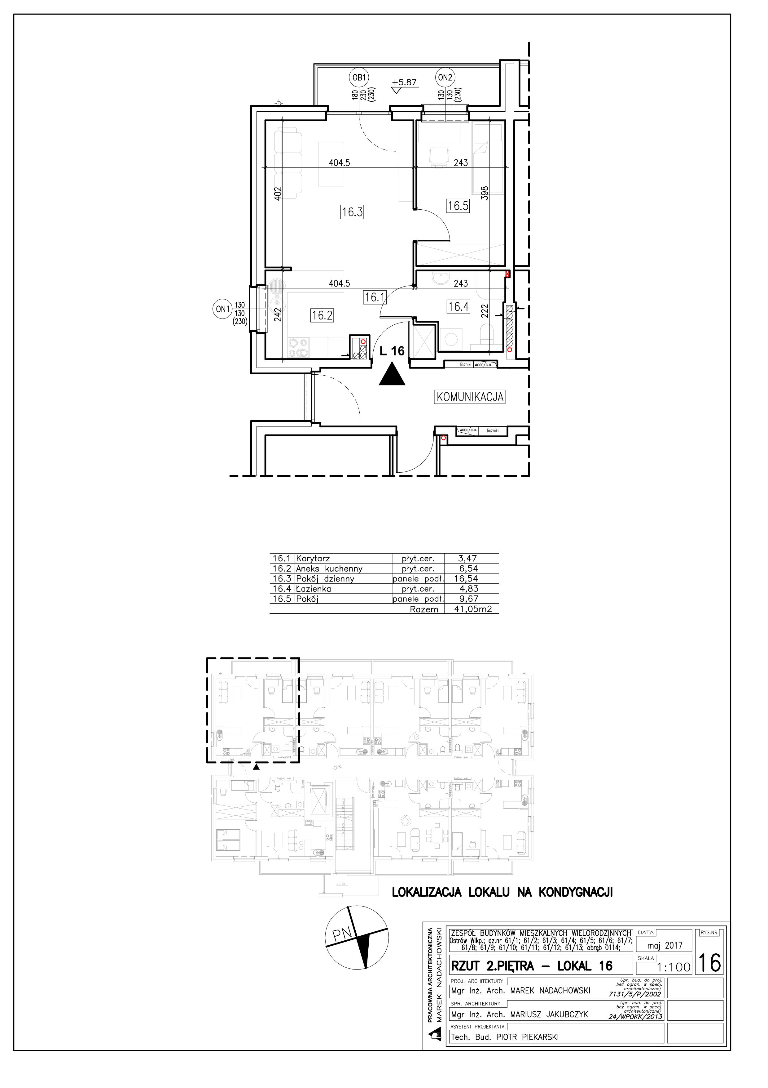Lokal nr 16 Powierzchnia: 41,05 m2