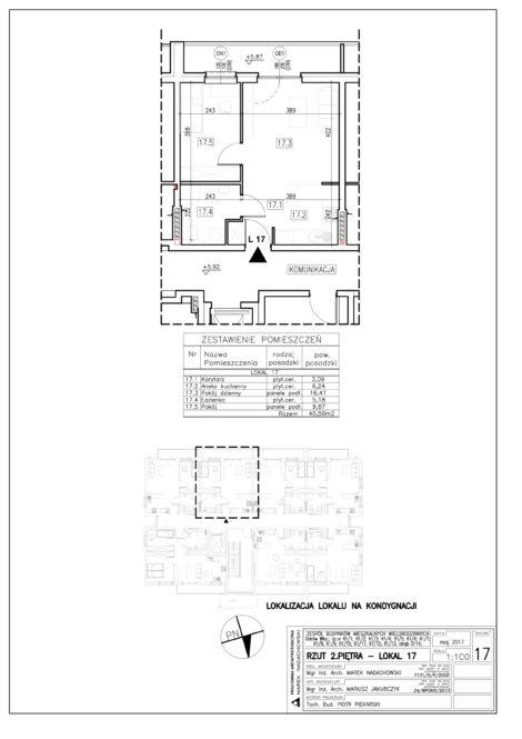Lokal nr 17 Powierzchnia: 40,59 m2