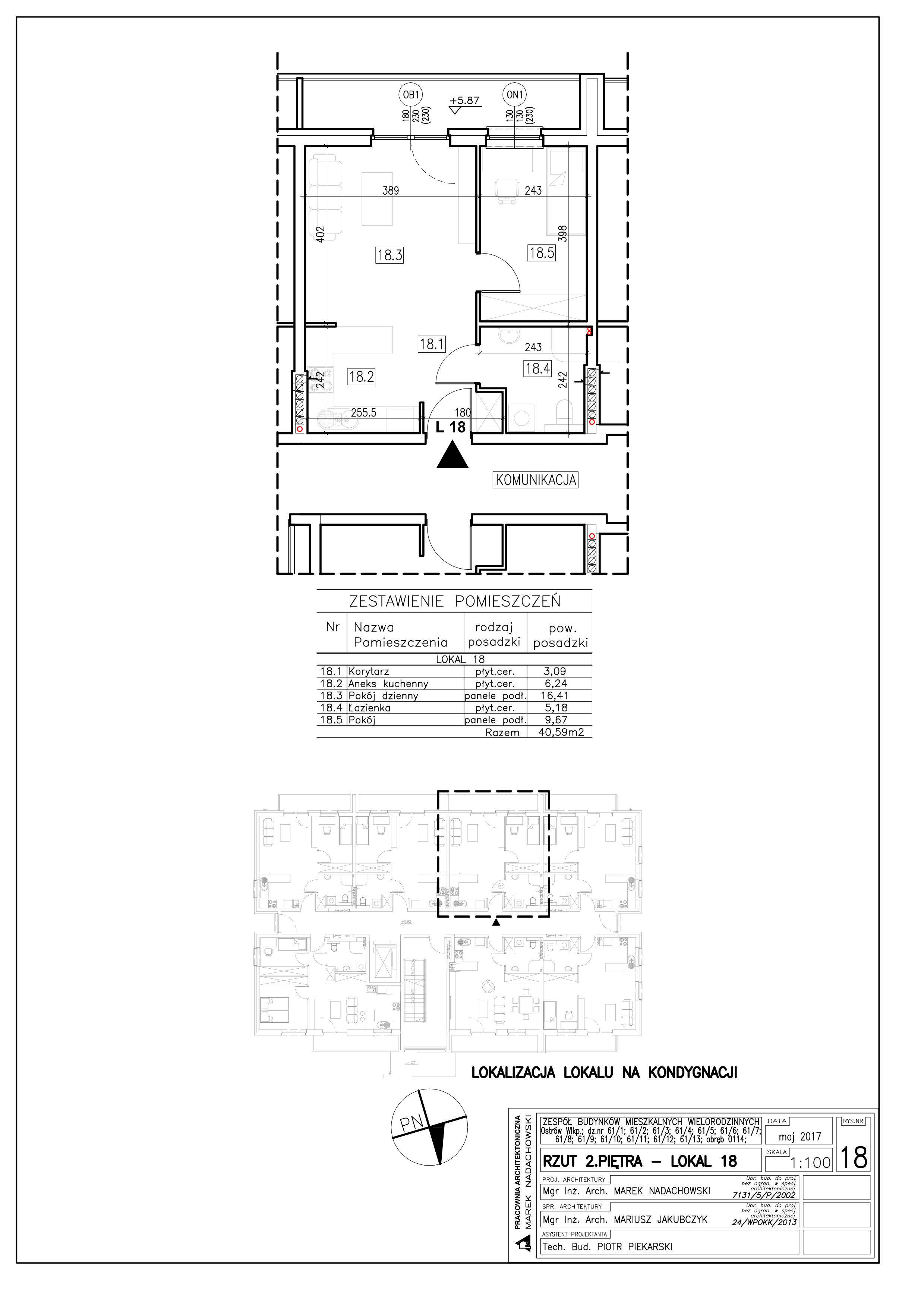 Lokal nr 18 Powierzchnia: 40,59 m2
