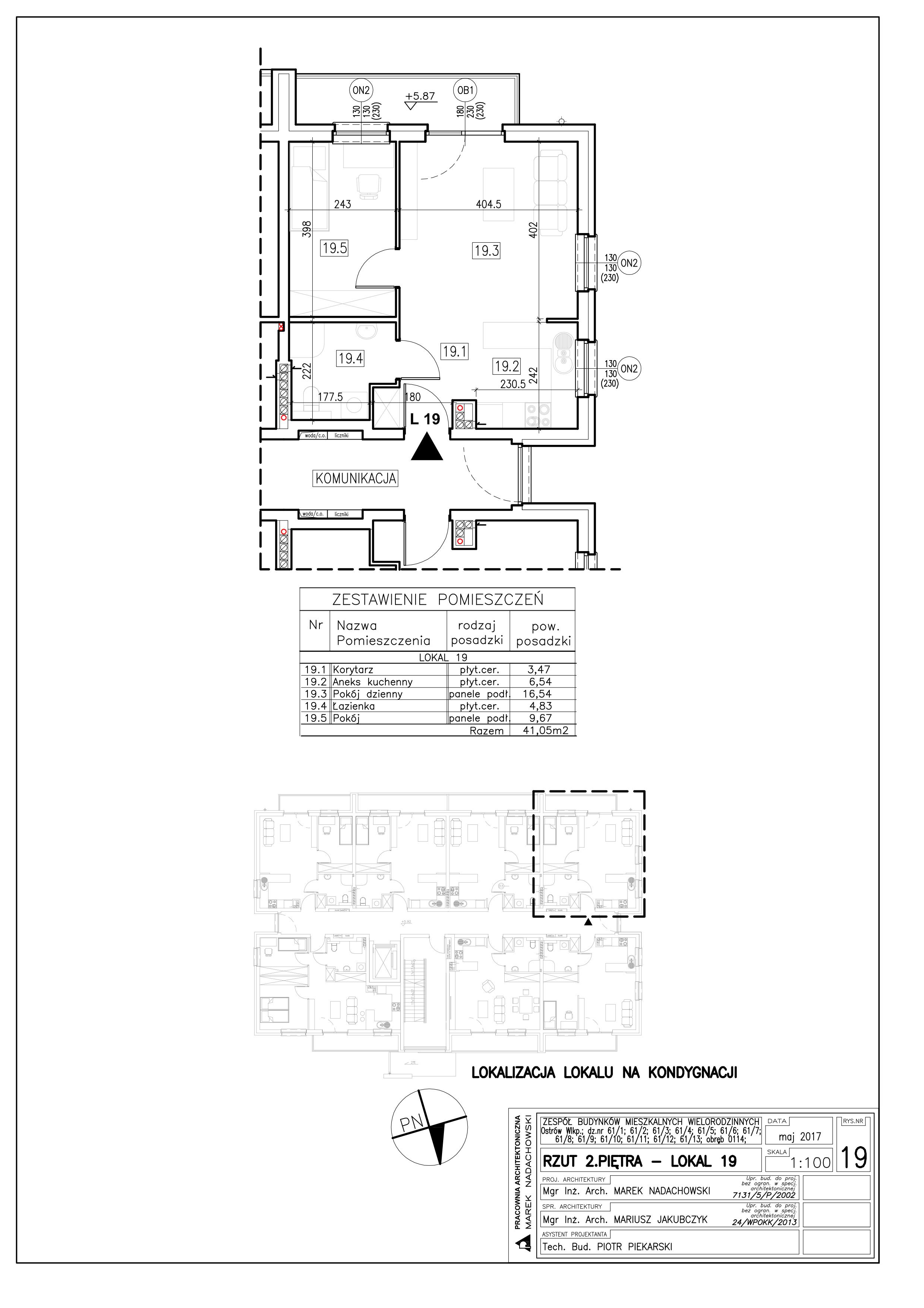 Lokal nr 19 Powierzchnia: 41,05 m2