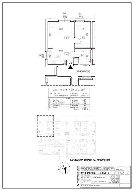 Lokal nr 2 Powierzchnia: 41,21 m2