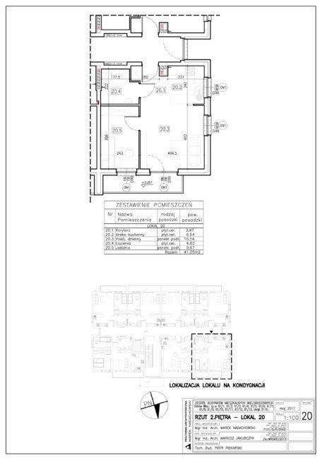 Lokal nr 20 Powierzchnia: 41,05 m2