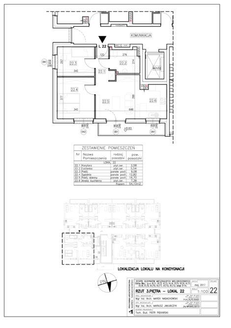 Lokal nr 22 Powierzchnia: 54,10 m2