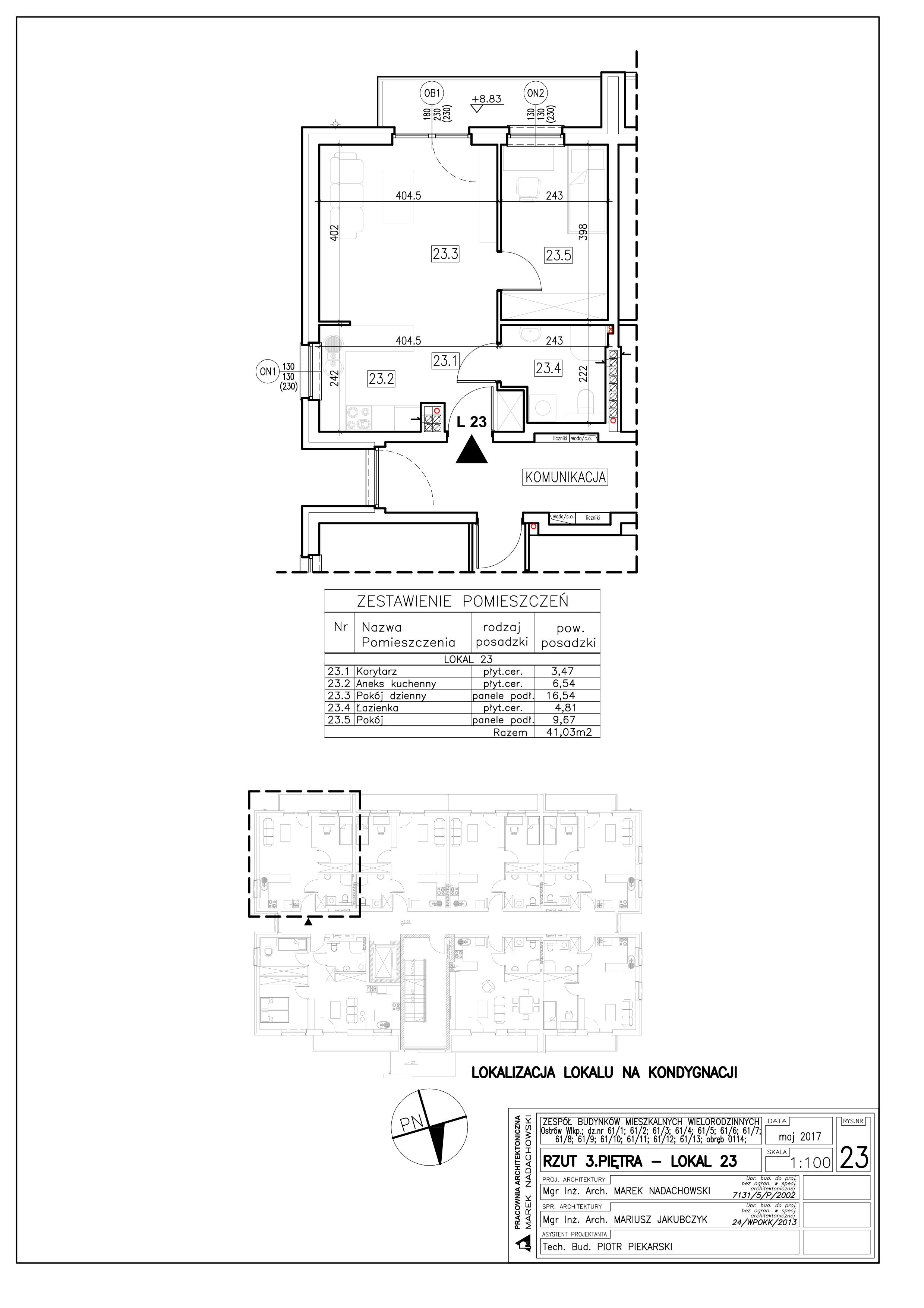 Lokal nr 23 Powierzchnia: 41,03 m2