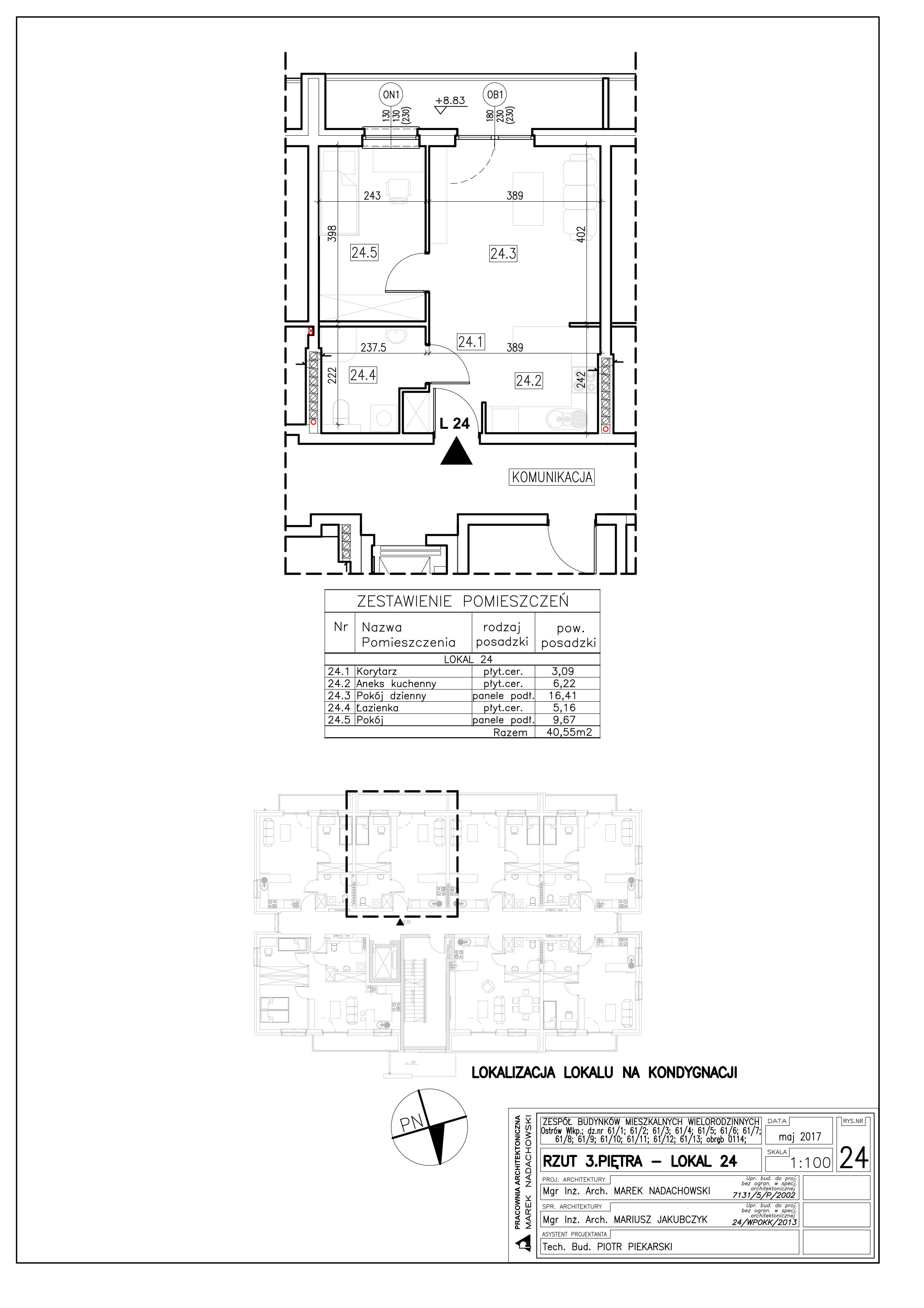 Lokal nr 24 Powierzchnia: 40,55 m2