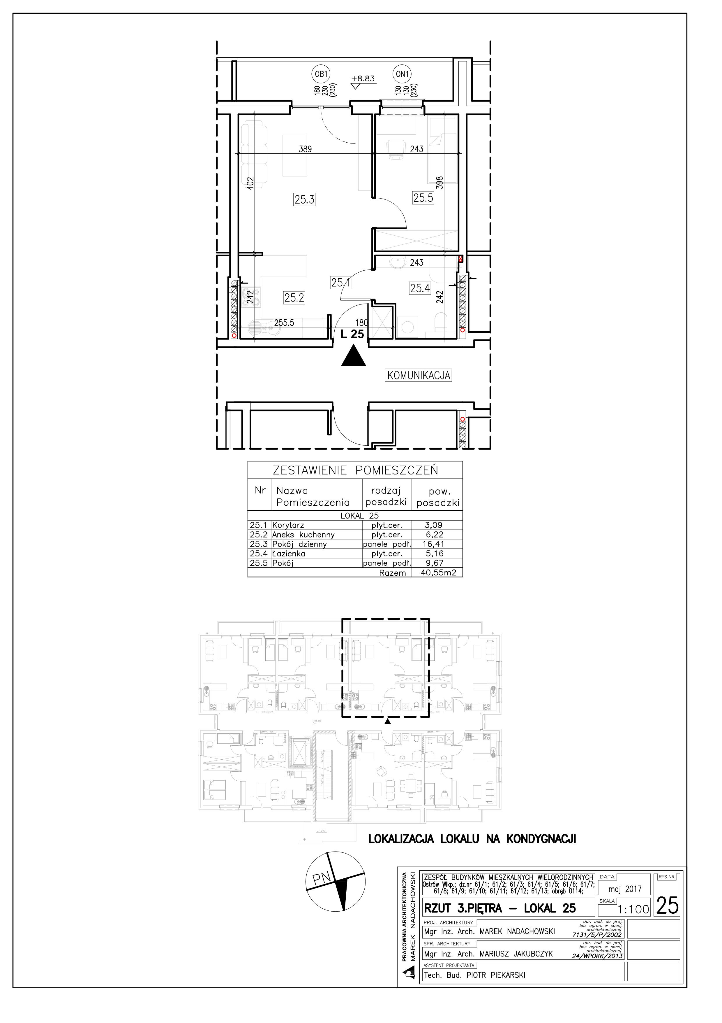 Lokal nr 25 Powierzchnia: 40,55 m2