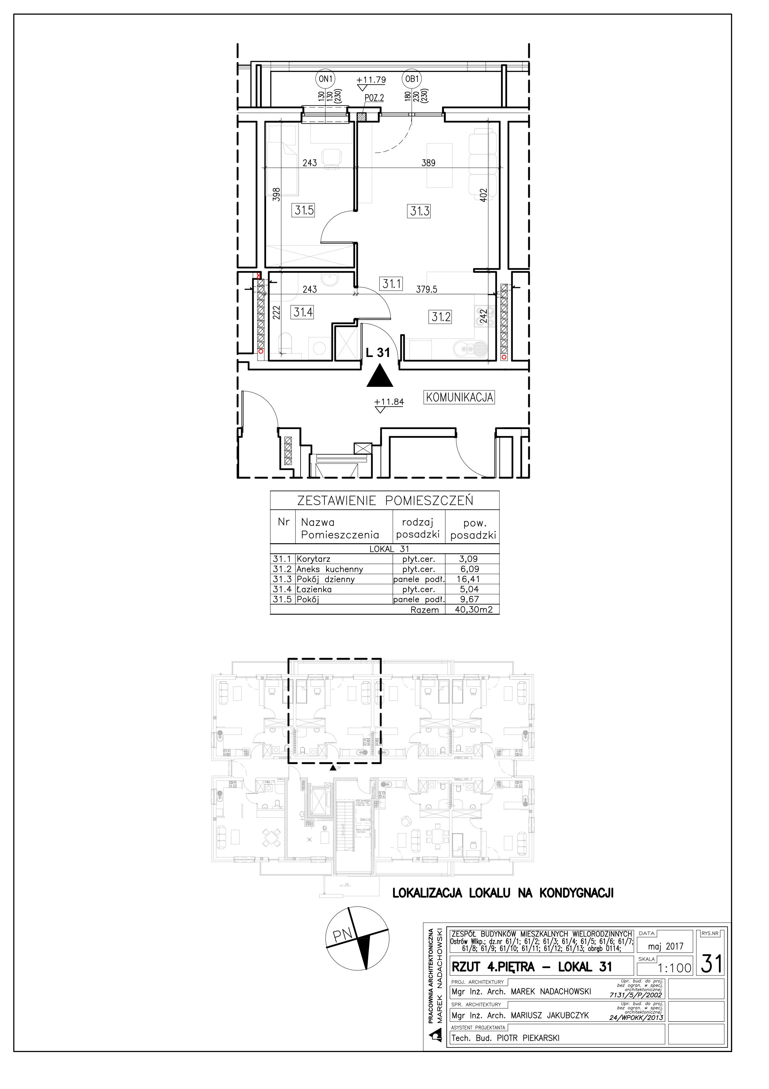 Lokal nr 31 Powierzchnia: 40,30 m2