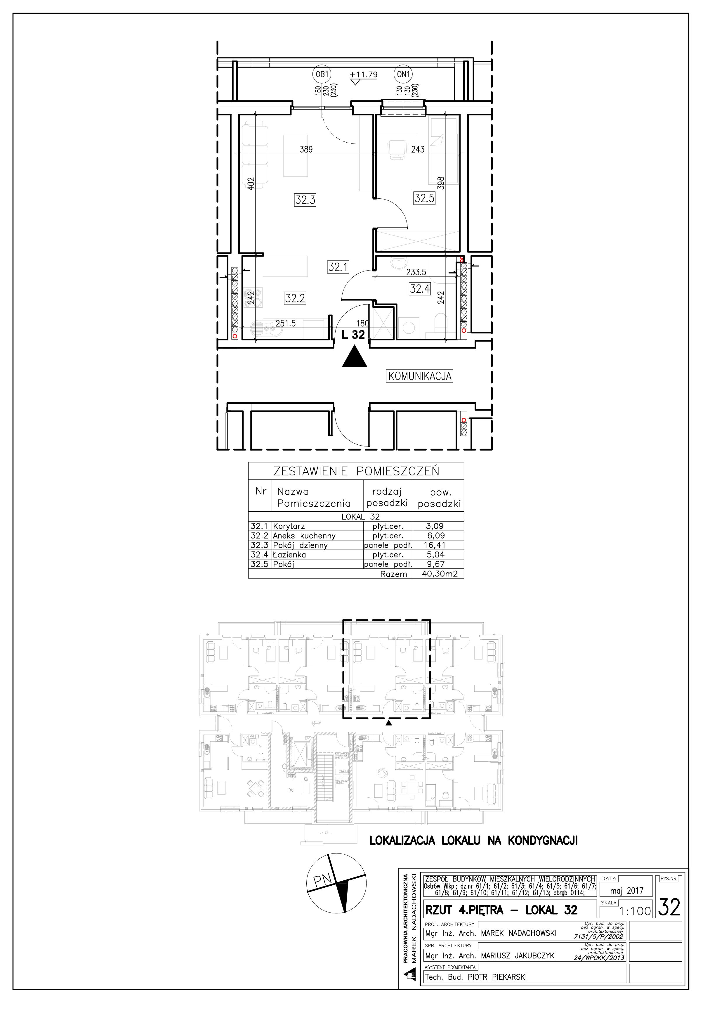 Lokal nr 32 Powierzchnia: 40,30 m2