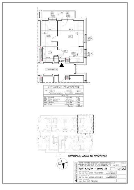 Lokal nr 33 Powierzchnia: 40,83 m2