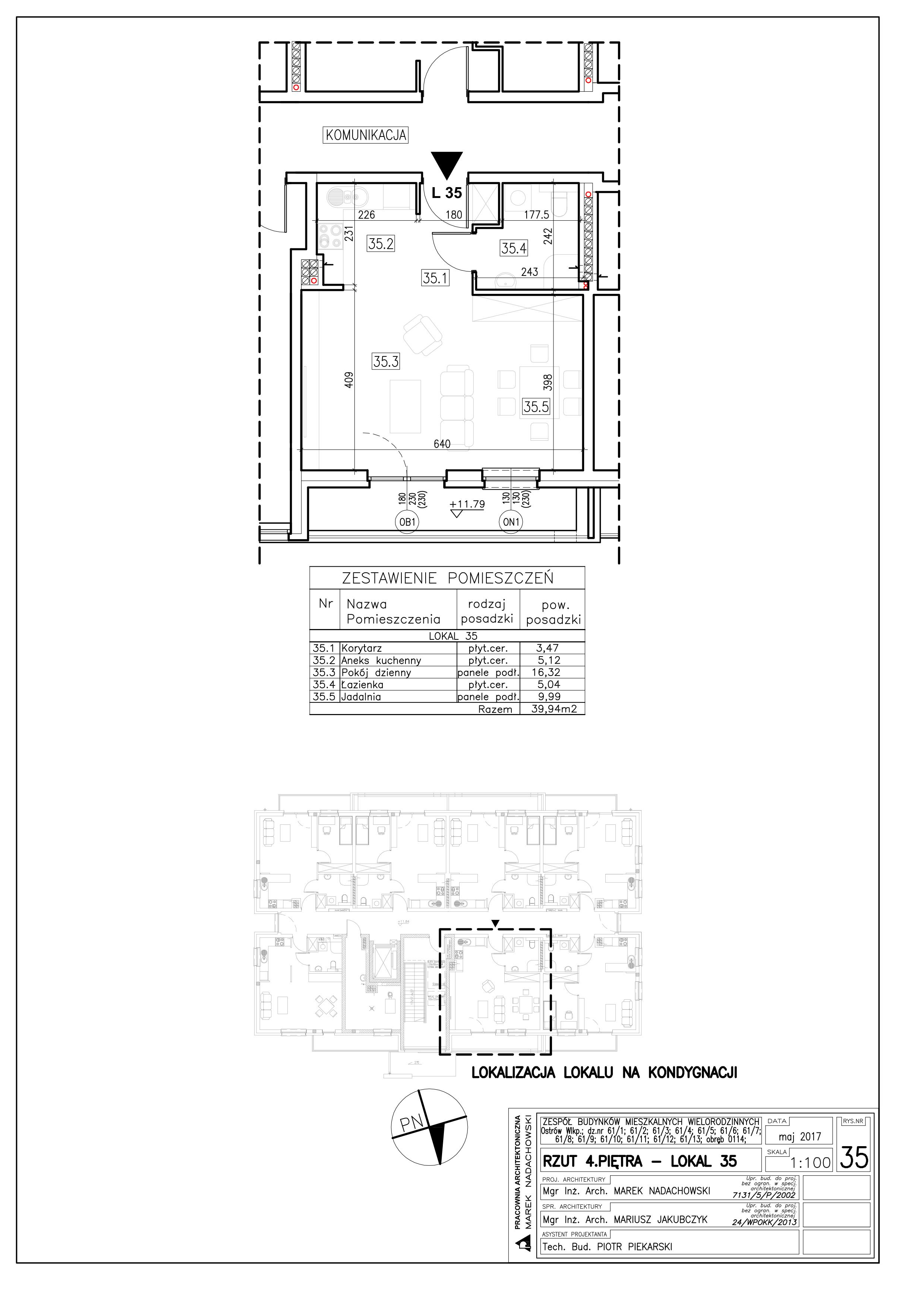 Lokal nr 35 Powierzchnia: 39,94 m2