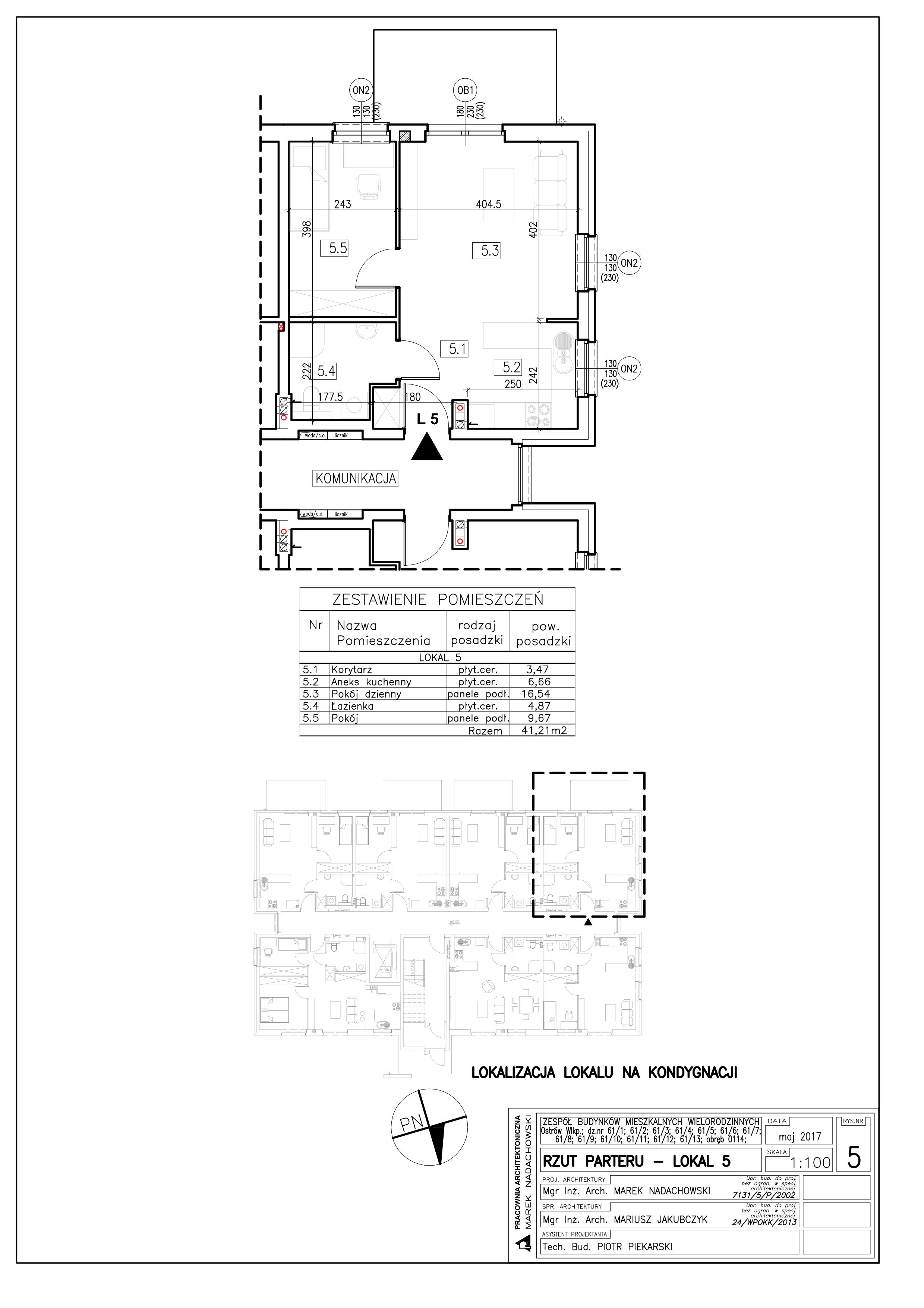 Lokal nr 5 Powierzchnia: 41,21 m2