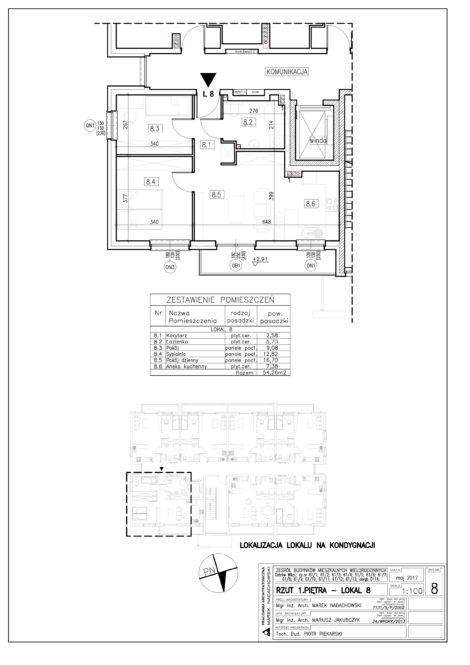 Lokal nr 8 Powierzchnia: 54,26 m2