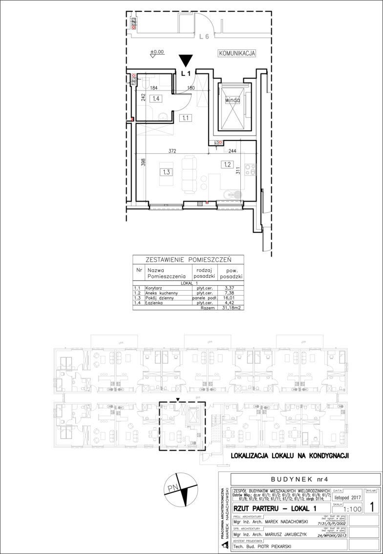 Lokal nr 1 Powierzchnia: 31,18 m2