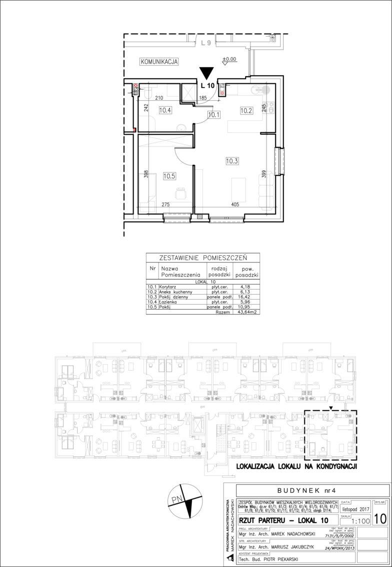 Lokal nr 10 Powierzchia: 43,64 m2