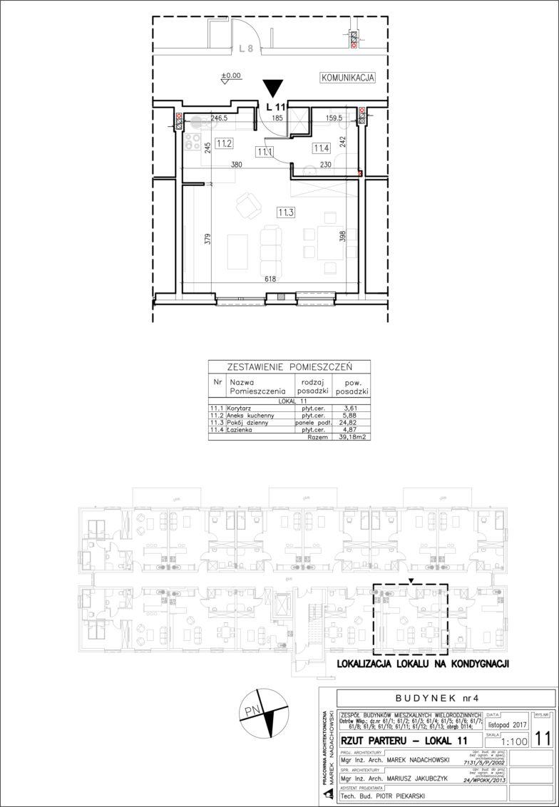 Lokal nr 11 Powierzchia: 39,18 m2
