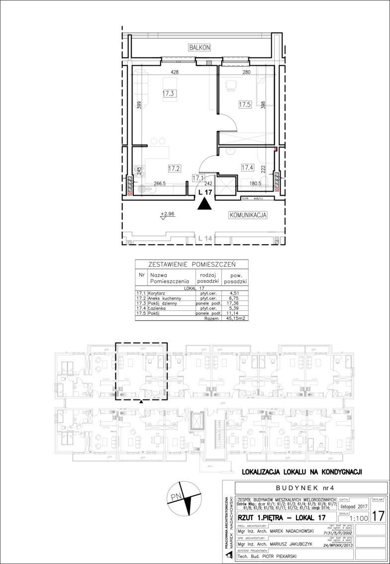 Lokal nr 17 Powierzchnia: 45,15 m2