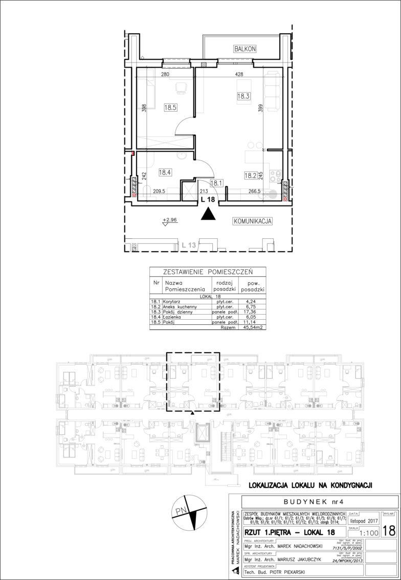 Lokal nr 18 Powierzchnia: 45,54 m2