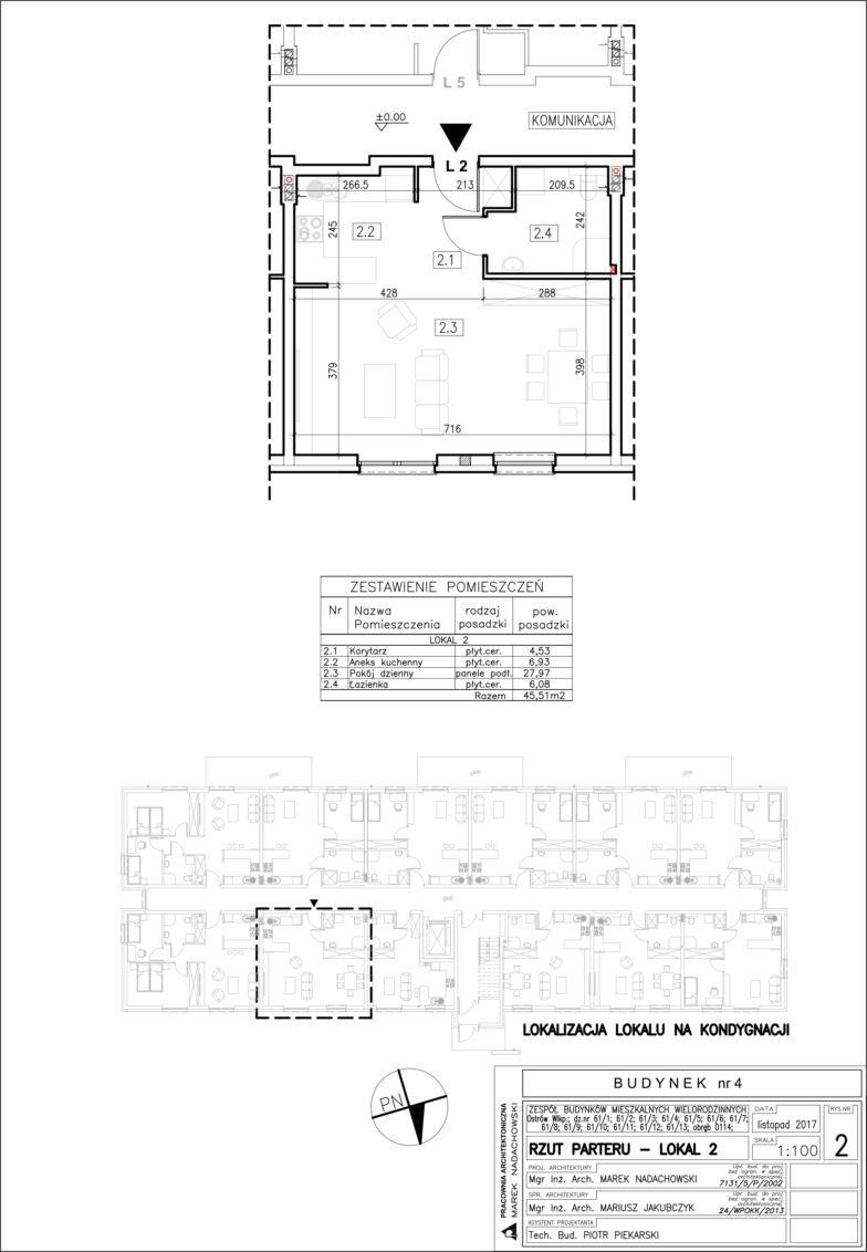 Lokal nr 2 Powierzchia: 45,51 m2