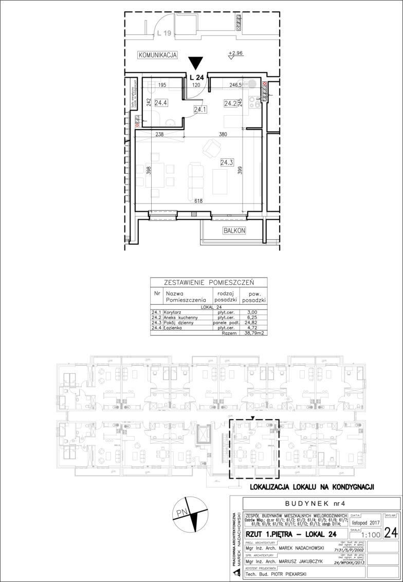 Lokal nr 24 Powierzchnia: 38,79 m2