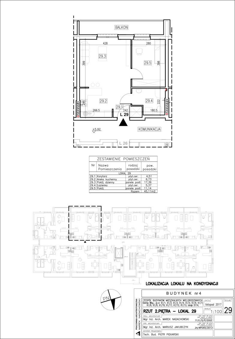 Lokal nr 29 Powierzchnia: 45,11 m2