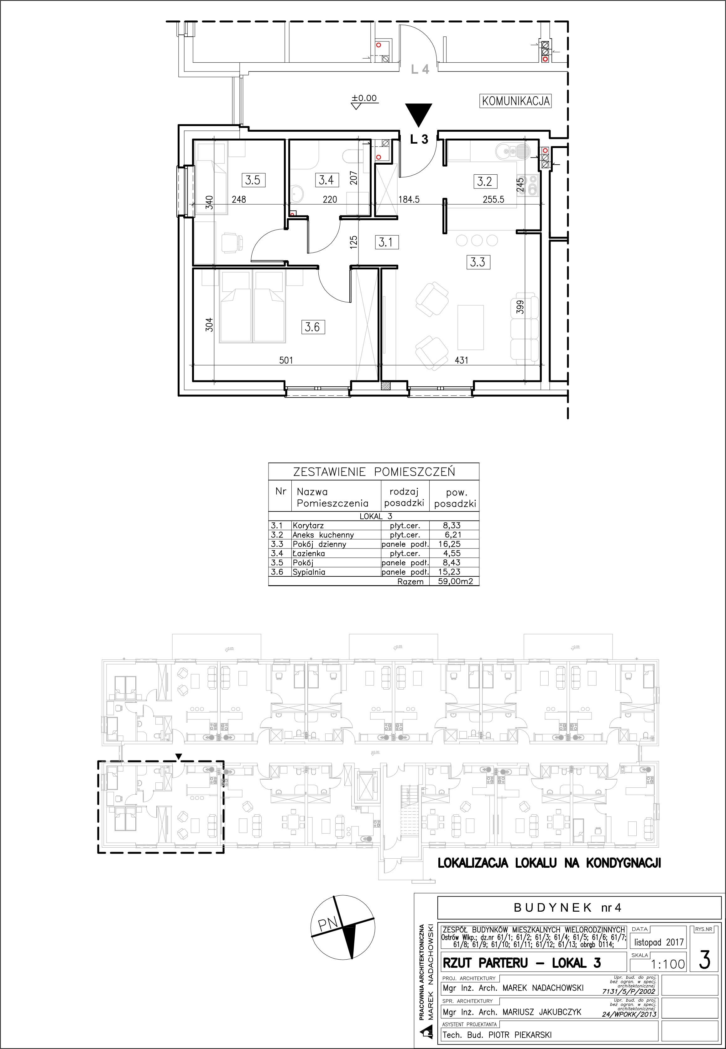 Lokal nr 3 Powierzchia: 59,00 m2