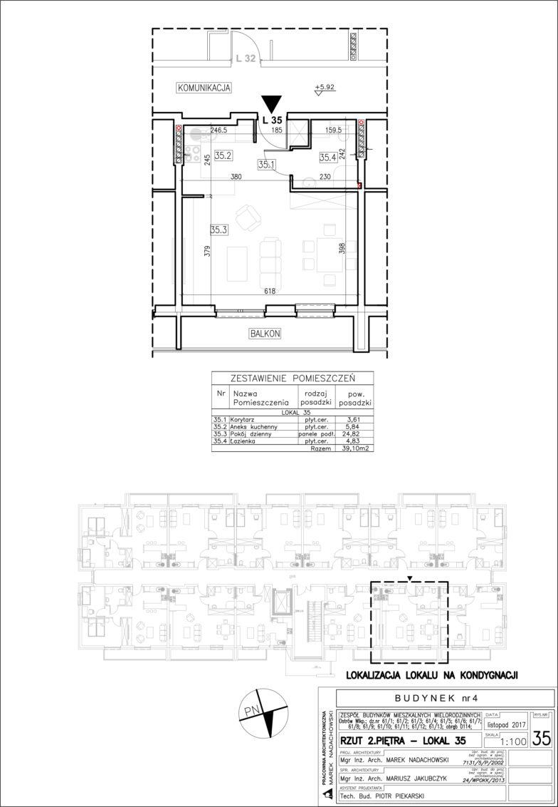 Lokal nr 35 Powierzchnia: 39,10 m2