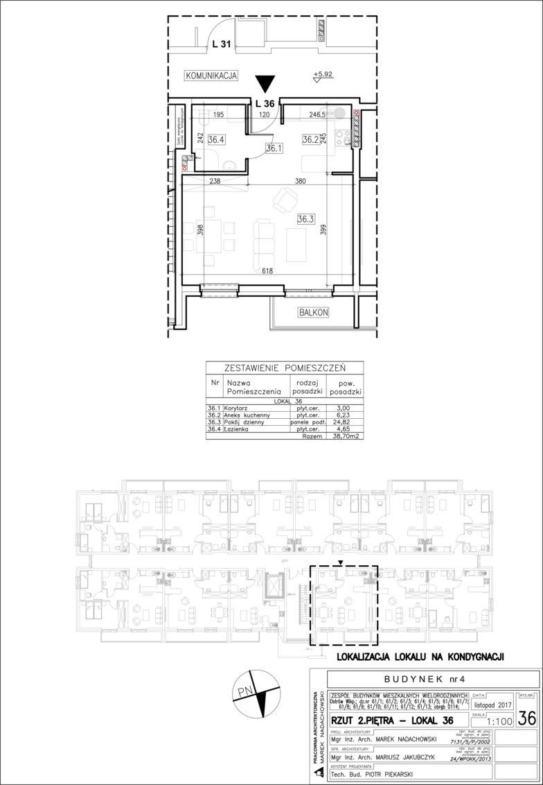 Lokal nr 36 Powierzchnia: 38,70 m2