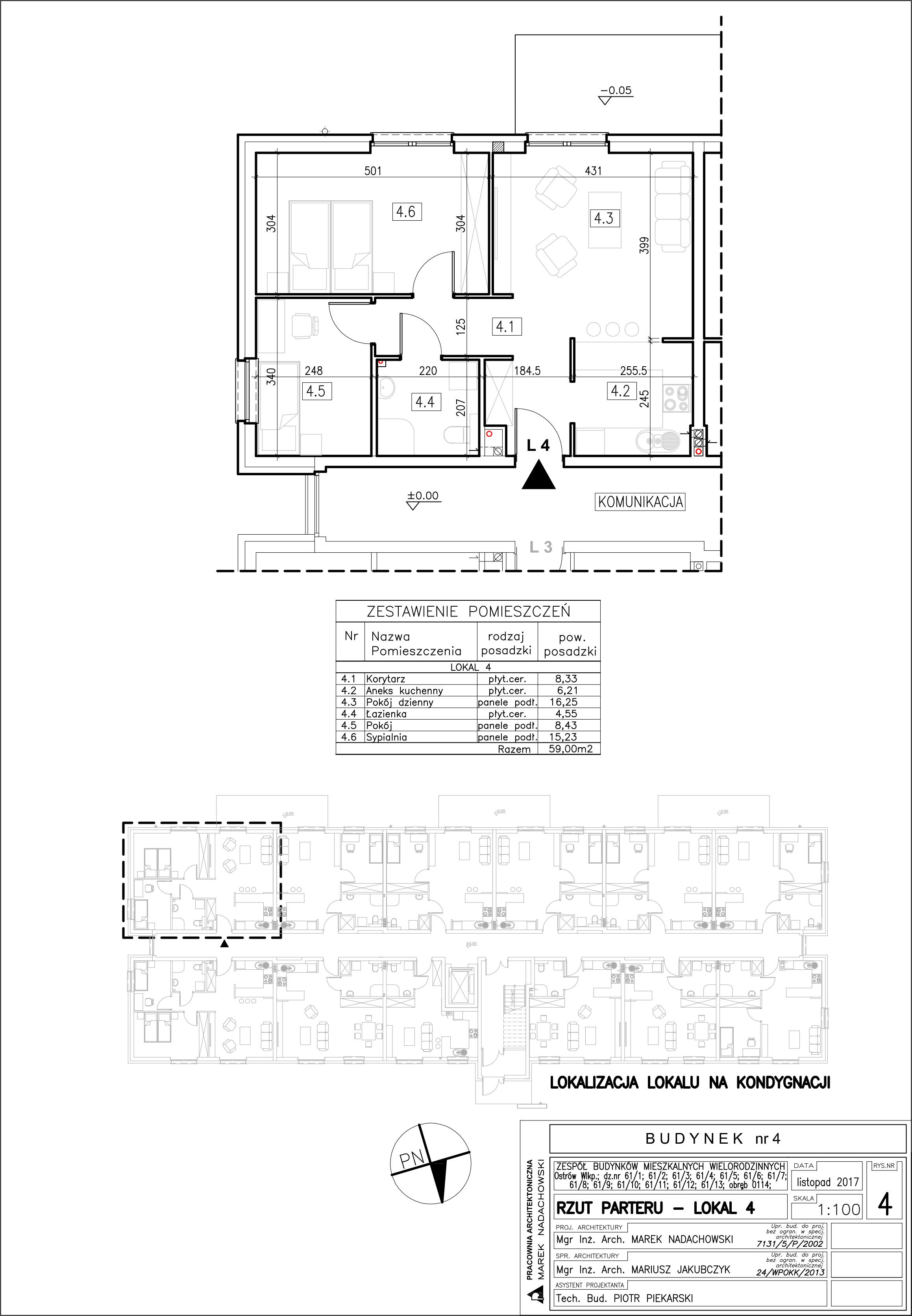 Lokal nr 4 Powierzchia: 59,00 m2