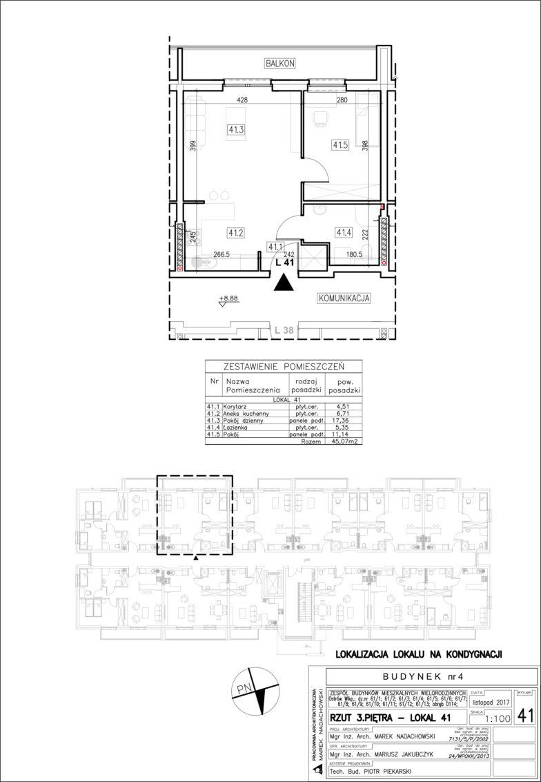 Lokal nr 41 Powierzchnia: 45,07 m2