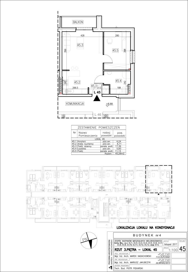 Lokal nr 45 Powierzchnia: 45,28 m2