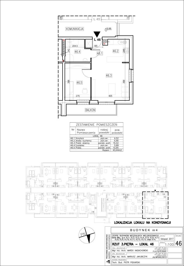 Lokal nr 46 Powierzchnia: 43,44 m2