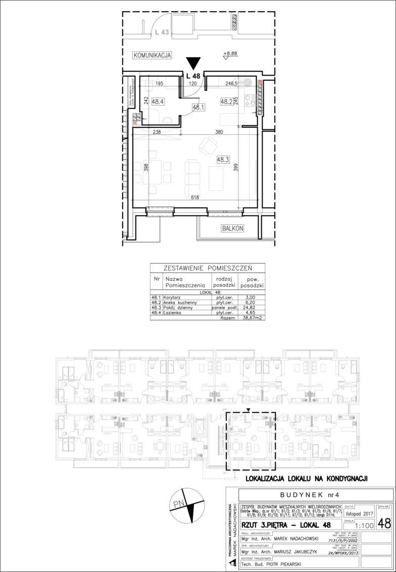 Lokal nr 48 Powierzchnia: 38,67 m2