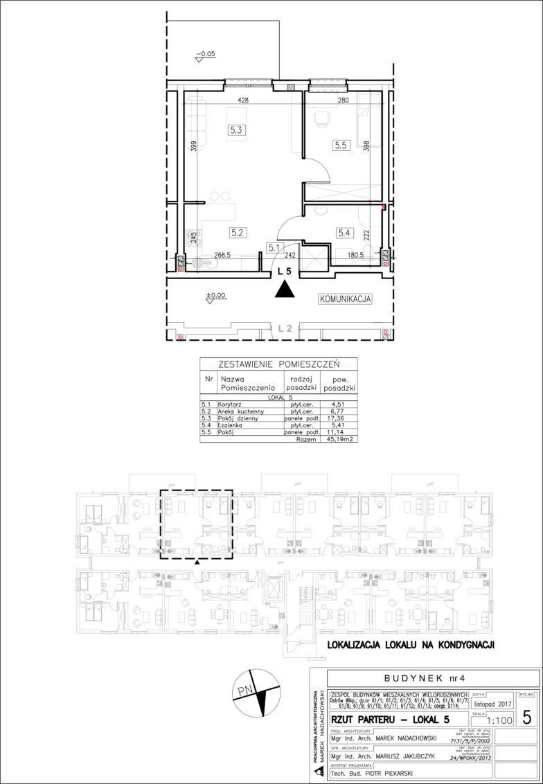 Lokal nr 5 Powierzchia: 45,19 m2