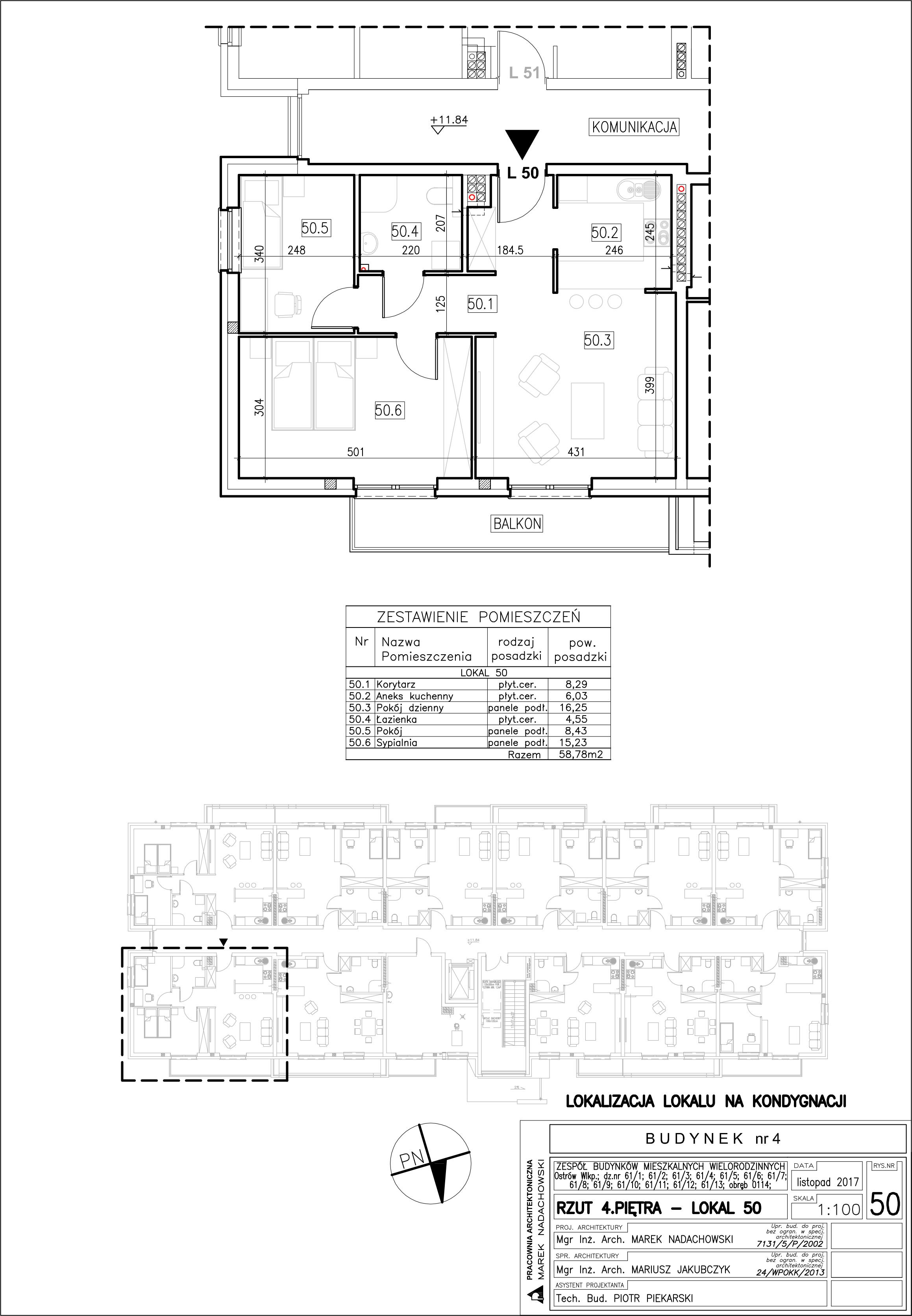 Lokal nr 50 Powierzchnia: 58,78 m2