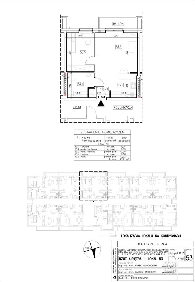 Lokal nr 53 Powierzchnia: 45,21 m2