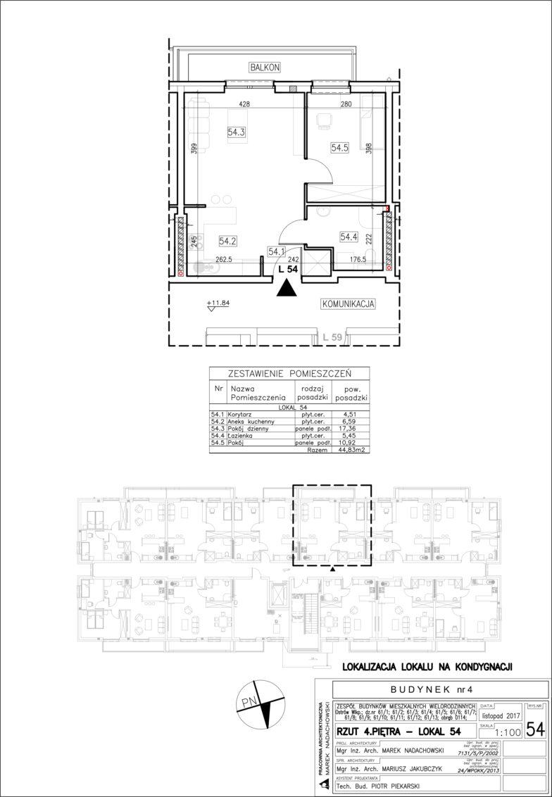 Lokal nr 54 Powierzchnia: 44,83 m2